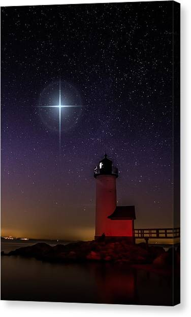 Star Over Annisquam Lighthouse Canvas Print