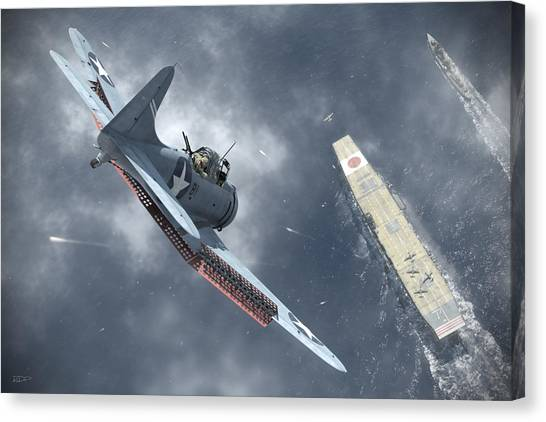Battle Canvas Print - Nowhere To Hide by Robert Perry