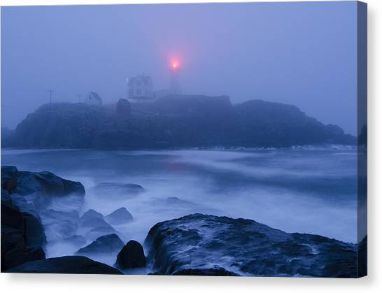 Nubble Light In Foggy Dawn Canvas Print