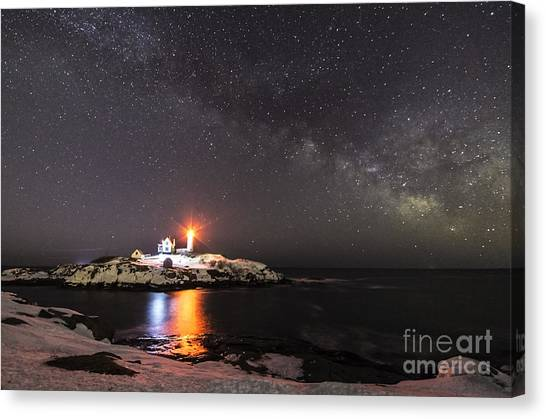 Nubble Light With Milky Way Canvas Print