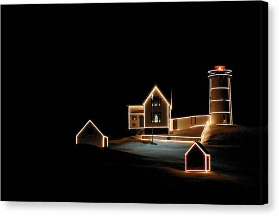 Nubble Lighthouse Christmas Lights Canvas Print
