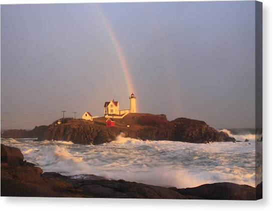 Nubble Lighthouse Rainbow And High Surf Canvas Print