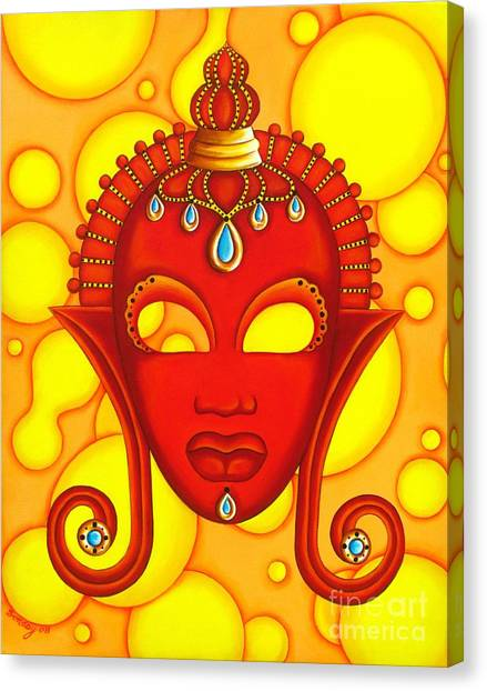 Nubian Modern Mask Red Canvas Print