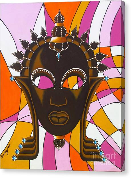 Nubian Modern Mask With Pink Canvas Print