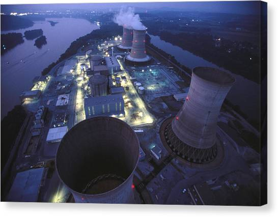 Nuclear Plants Canvas Print - Nuclear Powerplant On Three Mile by Peter Essick