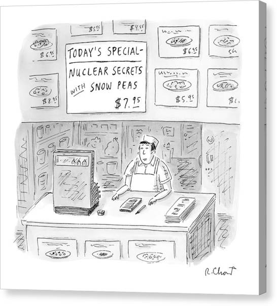 Chinese Restaurant Canvas Print - 'nuclear Secrets With Snow Peas' by Roz Chast