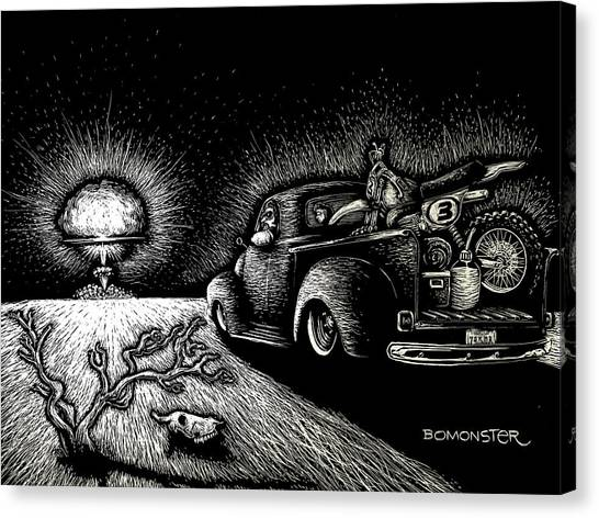 Dirt Bikes Canvas Print - Nuclear Truck by Bomonster