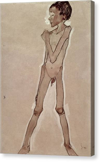 Crt Canvas Print - Nude Boy Standing Drawing by Egon Schiele
