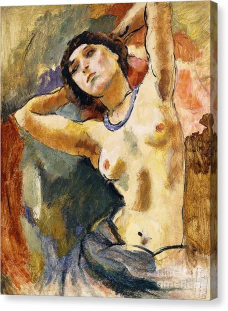 Head Tilt Canvas Print - Nude Brunette With Blue Necklace Nu La Brune Au Collier Bleu by Jules Pascin