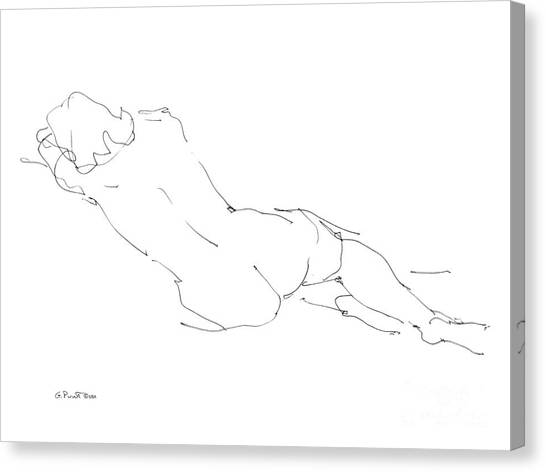 Print On Canvas Print - Nude Female Drawings 9 by Gordon Punt