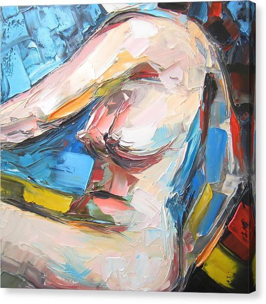 Nude Female Figure Canvas Print by Solomoon Art Studio