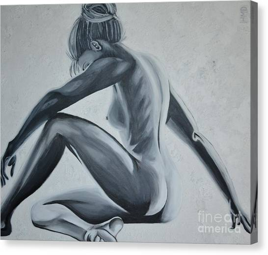 Nude Female - Snowstorm Canvas Print by Holly Donohoe