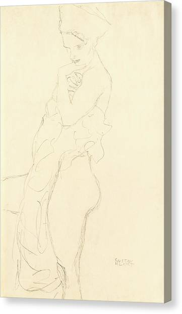 Sexuality Canvas Print - Nude by Gustav Klimt
