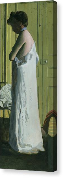 Nightshirts Canvas Print - Nude In An Interior by Felix Edouard Vallotton