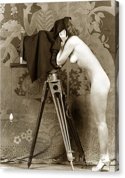 Nude In High Heel Shoes With Studio Camera Circa 1920 Canvas Print
