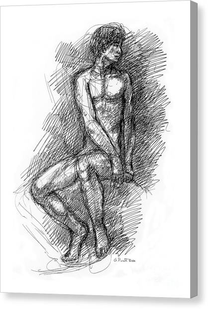 Nude Male Sketches 1 Canvas Print