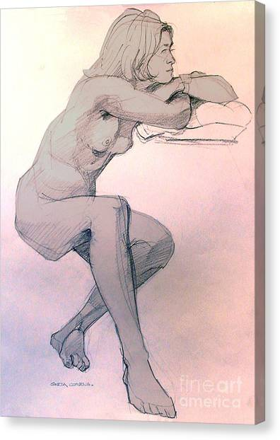 Nude Of A Dreamy Young Woman Canvas Print