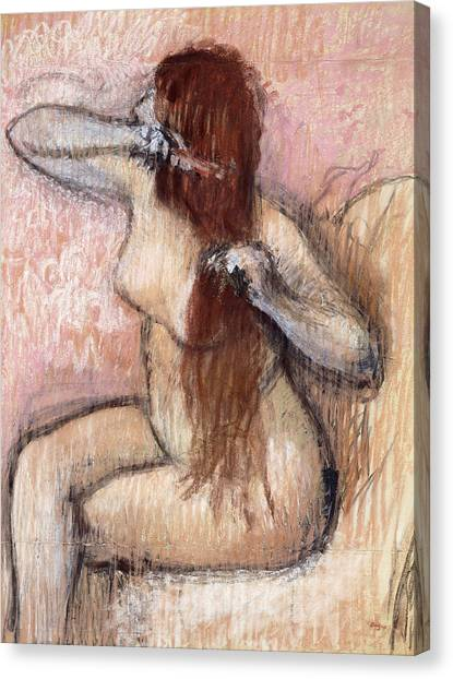 1880s Canvas Print - Nude Seated Woman Arranging Her Hair Femme Nu Assise Se Coiffant by Edgar Degas