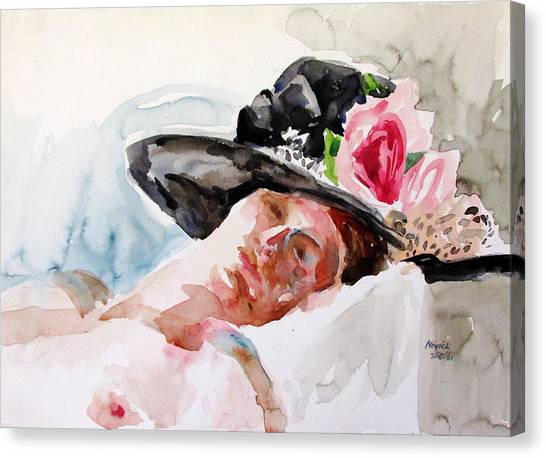 Nude With Flowered Hat Canvas Print