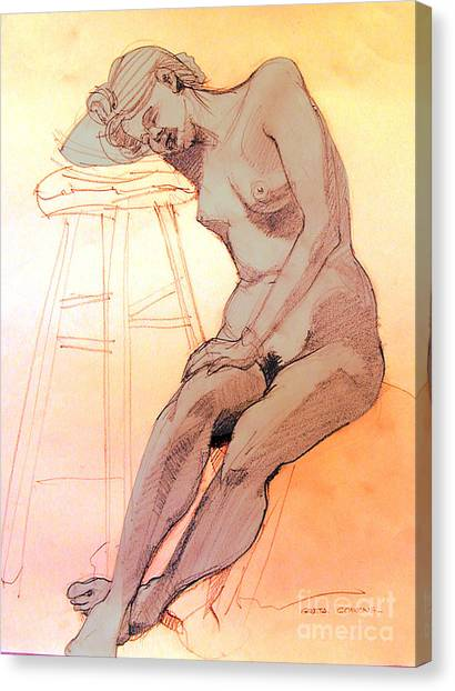 Nude Woman Leaning On A Barstool Canvas Print