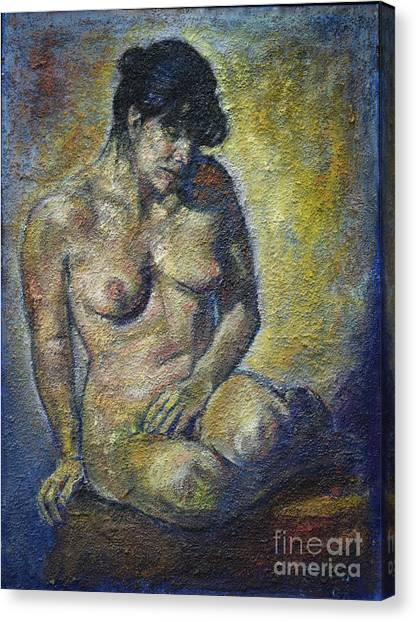 Sad - Nude Woman Canvas Print