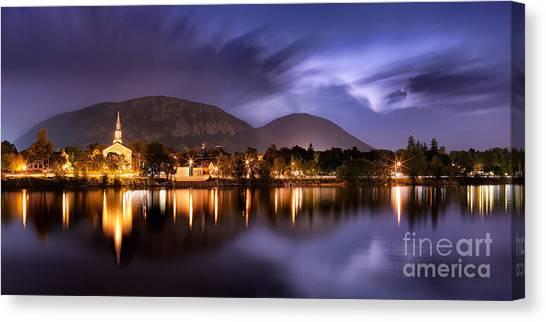 Nuit Orageuse Sur Mont Saint Hilaire Canvas Print