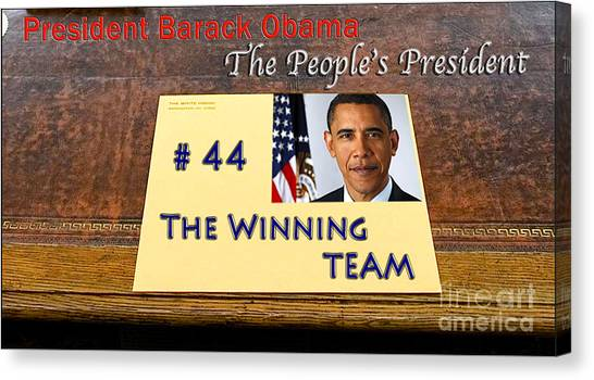 Joe Biden Canvas Print - Number 44 - The Winning Team by Terry Wallace