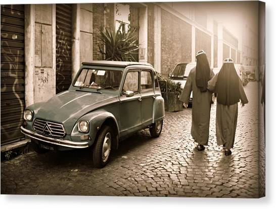 Nuns With Vintage Car Canvas Print
