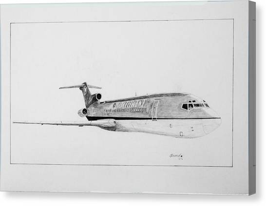 Bowling Shoes Canvas Print - Nwa  Boeing 727 by J Griff Griffin