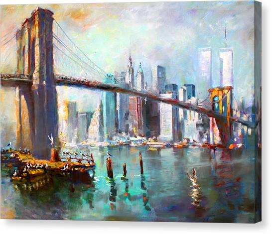 Seagulls Canvas Print - Ny City Brooklyn Bridge II by Ylli Haruni