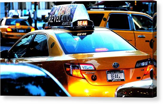 Ny City Taxi Cab At Twilight Manhattan Canvas Print by Ron Bartels
