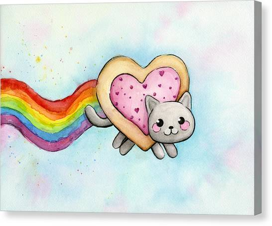 Heart Canvas Print - Nyan Cat Valentine Heart by Olga Shvartsur