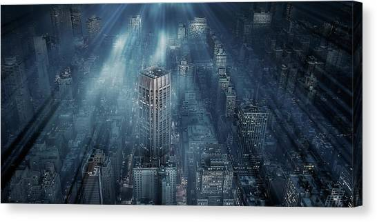 Skyscrapers Canvas Print - Nyc Blue Impact by Leif L?ndal