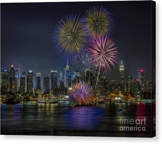 The City That Never Sleeps Canvas Print - Nyc Celebrates Fleet Week by Susan Candelario