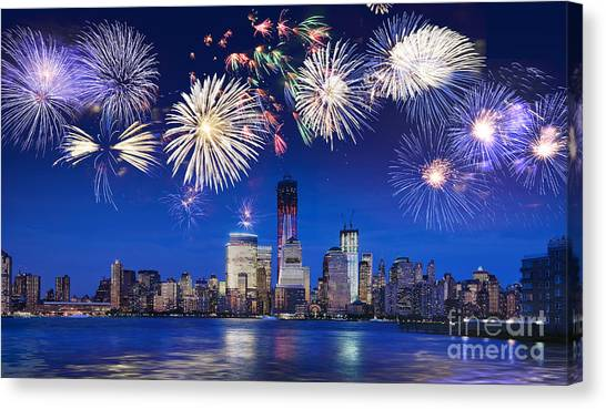 Fireworks Canvas Print - Nyc Fireworks by Delphimages Photo Creations