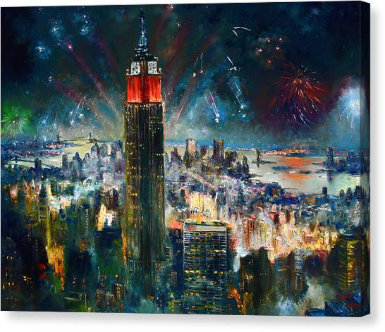 Independence Day Canvas Print - Nyc In Fourth Of July Independence Day by Ylli Haruni