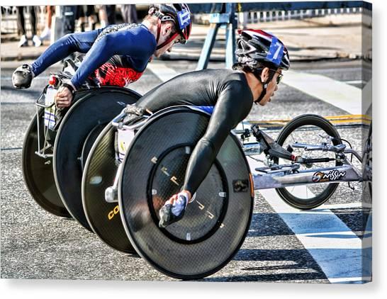 Nyc Marathon Wheelchair Racers Canvas Print