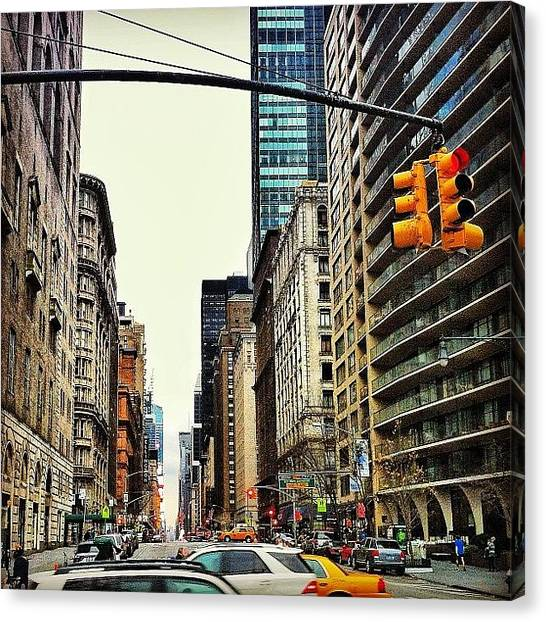 Stoplights Canvas Print - #nyc #newyorkcity #buildings #street by Scott Brash