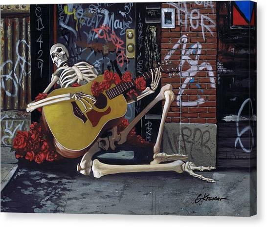 Grateful Dead Canvas Print - Nyc Skeleton Player by Gary Kroman