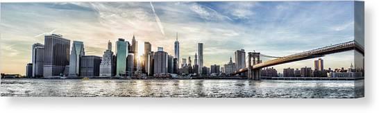 Nyc Skyline At Sunset Canvas Print by Zev Steinhardt