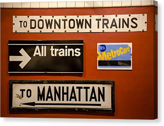 Nyc Subway Signs Canvas Print
