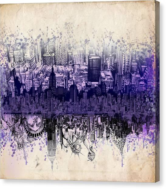 Manhattan Skyline Canvas Print - Nyc Tribute Skyline 2 by Bekim M
