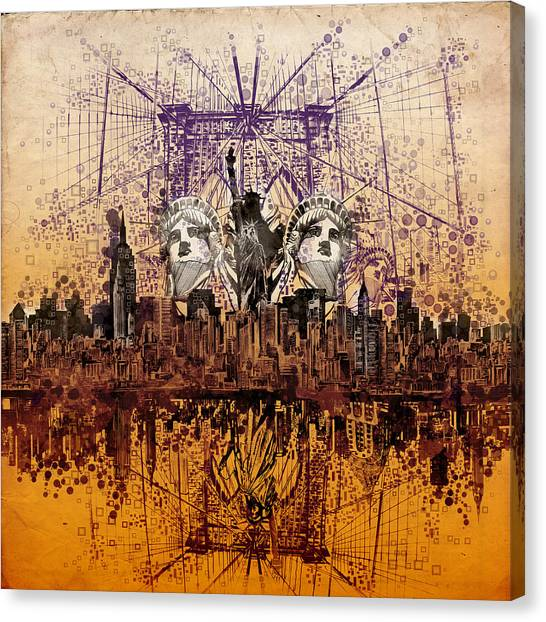 Manhattan Skyline Canvas Print - Nyc Tribute Skyline 6 by Bekim M