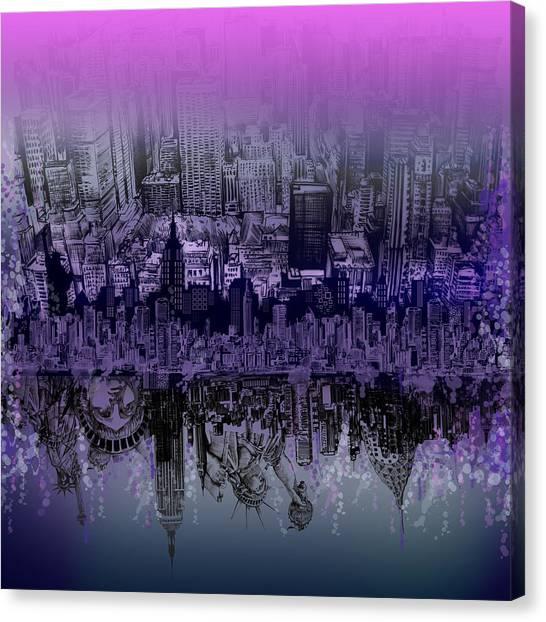 Manhattan Skyline Canvas Print - Nyc Tribute Skyline by Bekim M