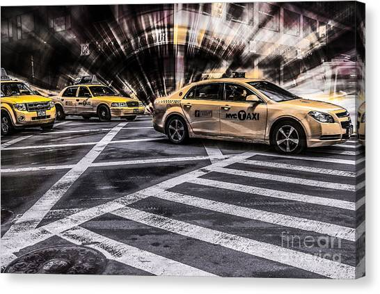 Nyc Yellow Cab On 5th Street - White Canvas Print