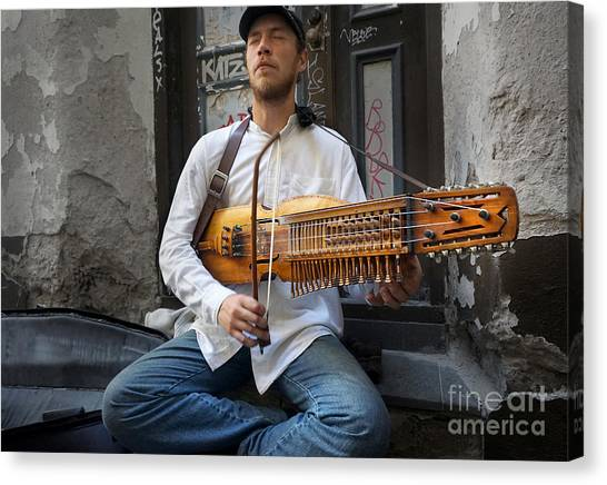 Nyckelharpa Player Of Estonia Canvas Print