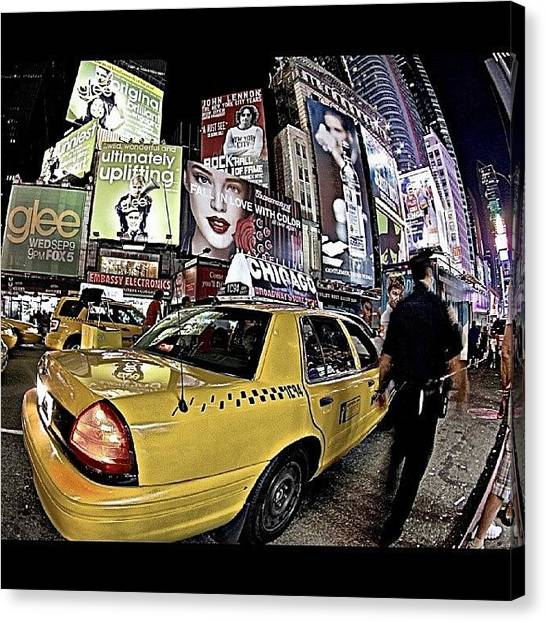 Law Enforcement Canvas Print - #nycphotography #nyc #fisheye #taxi by Jonathan Nouvellon