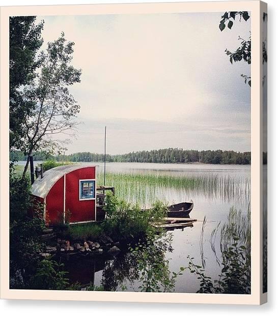 Music Canvas Print - #nydala #nydalasjön #rödstuga #sjö by Carina Ro