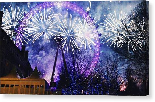 London Eye Canvas Print - Nye At The London Eye by Corran Jeebaun-Cook