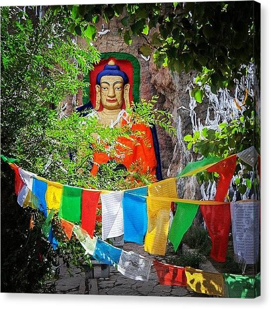 Meditation Canvas Print - Nyetang Buddha And Prayer Flags by Hitendra SINKAR